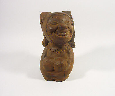 """Circus Jester Clown 5.3"""", Vintage Artist Signed Woodenware Carved Figurine !"""