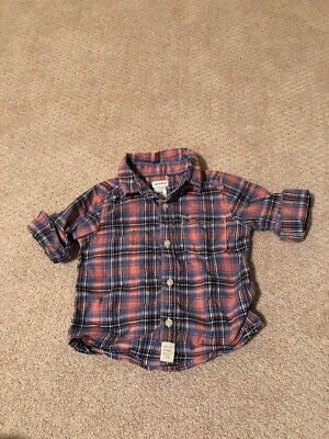 Carters Baby Boy 24 Months Pink And Blue Plaid Button Down Dress Shirt