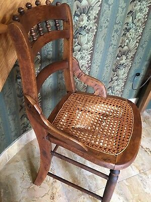 Antique Oak SIDE CHAIR Hand Caned Seat Ladder/Spindle Back Mission Style Wooden