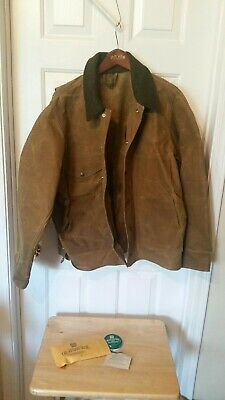 f8bf1f065a555 FILSON Tin Cloth Cotton Jacket 100% Virgin Wool Collar Large Made In USA  Vintage