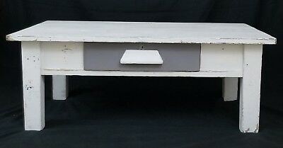 Vintage farmhouse french country wooden coffee table cottage chic shabby