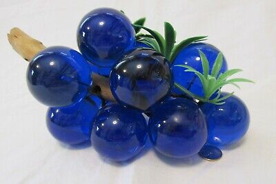 Vintage Large Bunch of Lucite Acrylic Cobalt Blue Grapes Cluster Wood  w/leaves