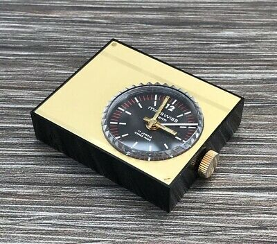 Iconic Miniswiss Travel Alarm Clock Gold Tone In Red Case - 17 Jewels Swiss Made