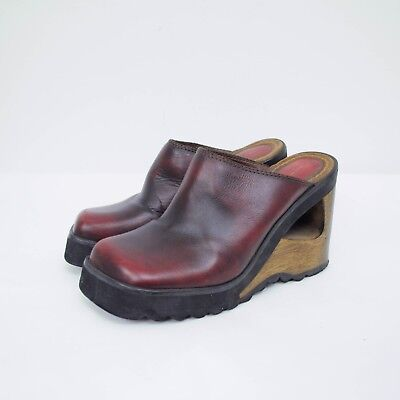 29c2015f64f3 VTG 90s Candies Wooden Cut Out Clogs Wedges Sz 9 Red Leather Mules Platform