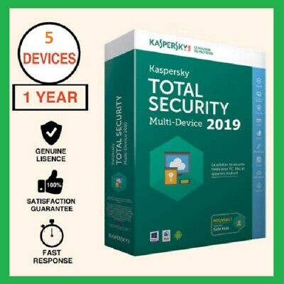Kaspersky Total Security 2019 5 Devices PC 1 YR Global Any Countries