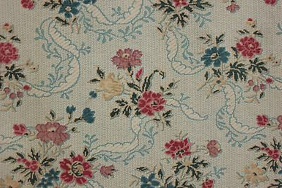 Fabric Antique French colorful floral w/ pale blue ground design c1890 2.7 yards