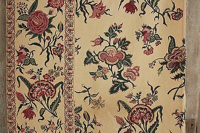 Fabric Antique French Indienne pattern cotton 19th hand block printed 2.3 yards