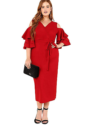 e68e2f5958 Milumia Women's Plus Size Cold Shoulder Layered Flounce Sleeve Wrap Maxi  Dress