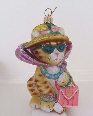 Cat Blown Glass Christmas Ornament & pink purse and glasses. Rare. Brand???