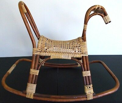 Franco Albini Rocking Horse Danish Mid-Century Modern Vintage rattan bamboo toy