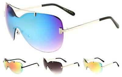 946a678c1a9b3 Wholesale 12 Pair Trendy Once Piece Rimless Sunglasses with Color Mirror  Lens