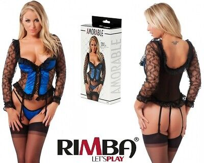 'Amorable' by Rimba Lingerie Blue Basque With G-String And Stockings (R1793)[...