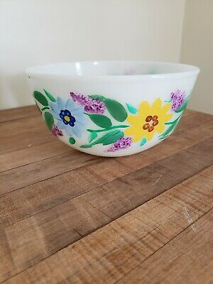 Very nice Hand Painted Fire King Anchor Hocking Bowl Floral Spring