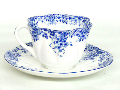 Shelley Dainty Blue Bone China Tea Cup and Saucer Made in England 728B