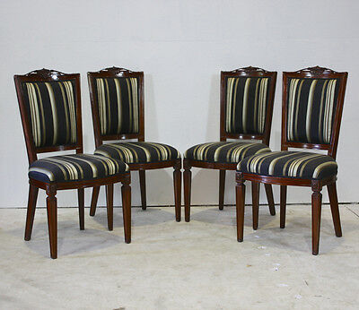 Set of 4 mahogany traditional dining chairs with gold and blue stripped fabric