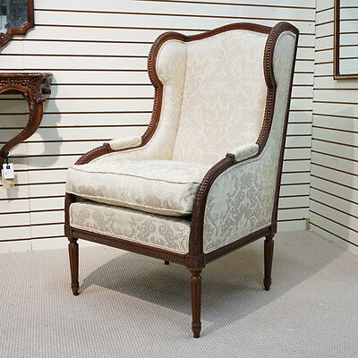 Occasional Mahogany Carved Fireside Wing Back Chair Damask gold beige fabric