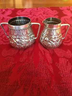 Antique Heavy Chased Sterling Silver Small Cream & Sugar