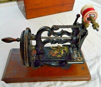 Rare Charles Raymond Chainstitch Sewing Machine C1870 Working Order Boxed Case