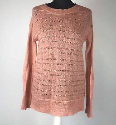 HUSH Size S/M Coral Wool & Mohair Blend Long Sleeved Thin Loose Knit Jumper UK12