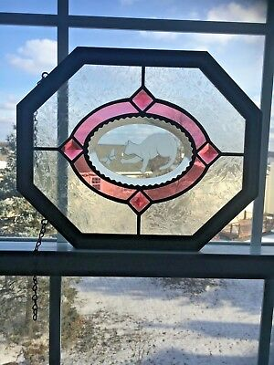 """Vintage Stained Glass Cat, Butterfly Window Panel in Wood Frame 14"""" X 10"""""""