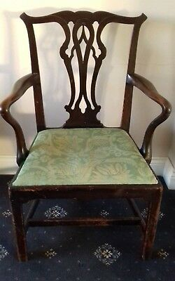 Georgian mahogany armchair, desk , dining or side chair. Chippendale style. 1800