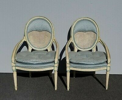 Pair Vintage French Country Baby Blue Cane Back Accent Chairs