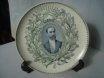 Antique Plate Marie Francois Sadi Carnot French President Assassinated 1894