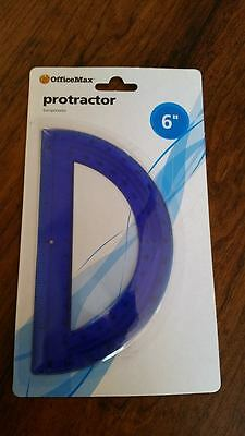 "NEW 2 OfficeMax 6"" Student Protractors Blue - Two total!  Both the same!"