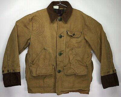 5bf6183c Vintage Sears Ted Williams Canvas Khaki Shooting Hunting Jacket Mens SMALL