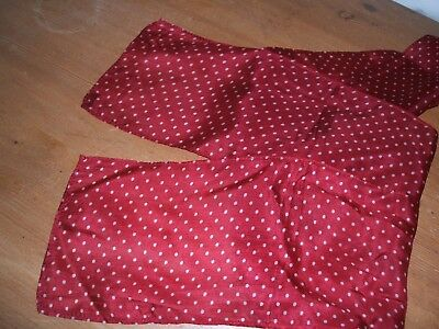 Vintage Style 100% Silk Red Poladot Scarf  Slim Banner