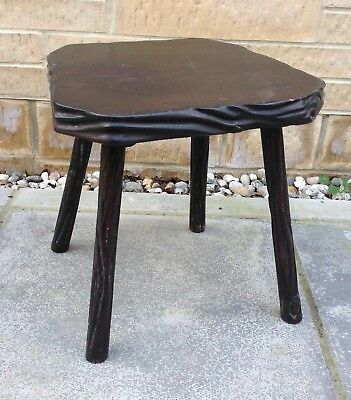 Vintage Rustic Wooden Milking Stool / Plant Stand ~ Farmhouse Shabby Chic