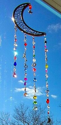 Moon Suncatcher-Stars, Multi-Color Crystals-Handcrafted-3 Dimensional # 902