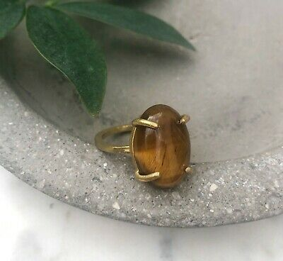 Size 6.5 Natural Tiger's Eye Oval Gemstone Brass Claw Setting Cocktail Ring Gold