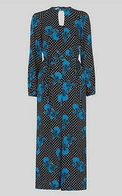 Whistles Kira Spot Floral Silk Jumpsuit - U.K..10 - Brand New With Tags
