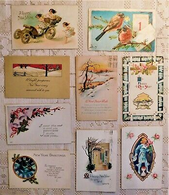 LOT OF 9 VINTAGE POST CARDS - EARLY 20th CENTURY - NEW YEARS DAY THEME