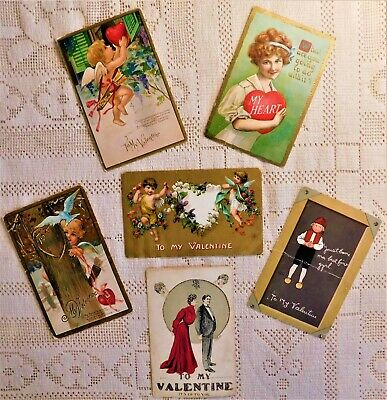 LOT OF 6 VINTAGE POST CARDS - EARLY 20th CENTURY - VALENTINE'S DAY THEME