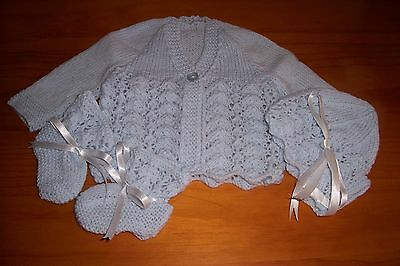 Baby Jacket,bonnet And Bootee Set [ Hand Knitted ]