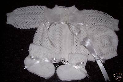 White Cardigan Style Jacket, Bonnet & Bootee Set  [ Hand Knitted]