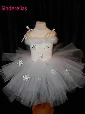 Girls White Snow Ice queen Frozen Angel Star Show Flake dress ages 1 to 10 yrs