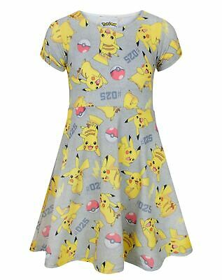 Official Cute Pokemon Pikachu Kids Girls Short Sleeve Dress 9-10 Years