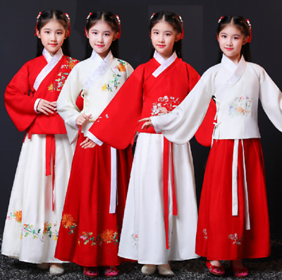 Adult Teen Girls Embroidered Chinese Qipao Dress Top / Long Skirt Set ZG9