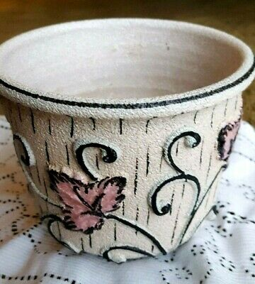 """Italy planter, pink, gray, white, gritty textured #12F 4 3/4"""" h x 5 1/2"""" w"""