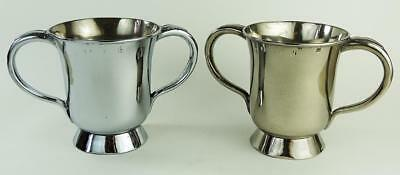 Pair VICTORIAN SILVER PLATE LOVING CUPS c1840 OLDHAM MAKER NOTTINGHAM