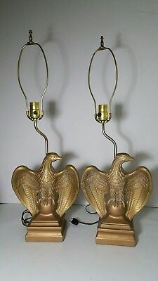 Vintage Pair of Atlantic Mold Eagle Table Lamps