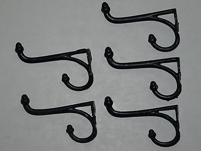 5 matching vintage antique Cast Iron Double Coat  hooks acorn tops