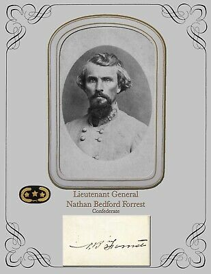 Civil War Photo & Autograph card COPY  Lt.  General Nathan Bedford Forrest