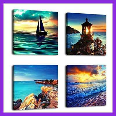 """Canvas Wall Art Ocean Sunset Beach Pictures 12"""" X 4 PC BLUE Seascape 12X12in 4P"""