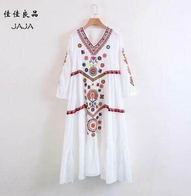 Women Vintage Ethnic Mexican Embroidered Cotton Linen Long Boho Loose Dress New