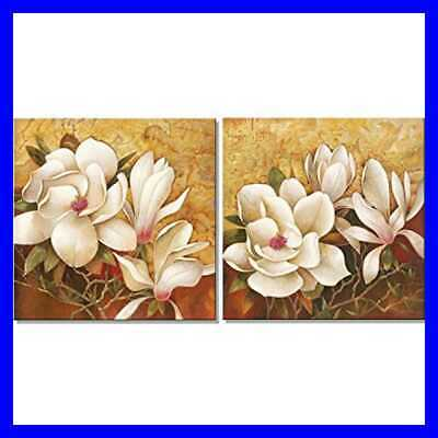 Magnolia Flowers Modern 2 PC Stretched & Framed Floral Giclee Canvas Prints Oil