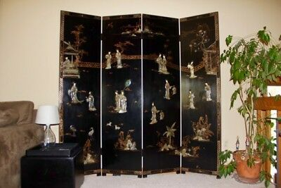 ANTIQUE CHINESE Four Panel Screen -Black Lacquer With Stone Inlay